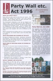 Download the FPWS Party Wall etc Act 1996 explanatory leaflet